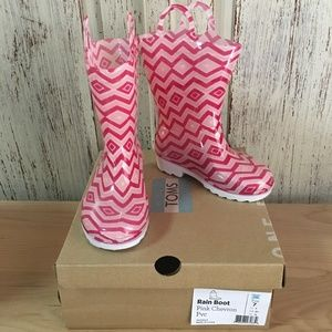 Toms Shoes - TOMS Pink Chevron Rainboot